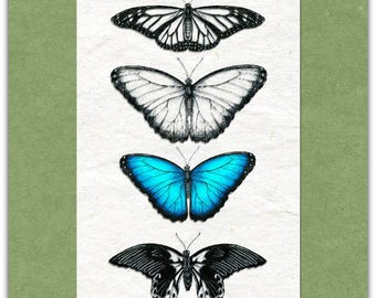 Original Butterfly greeting card handmade 15cm x 15cm