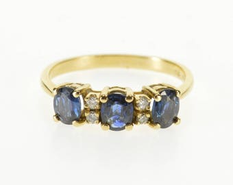 14k Three Stone Oval Sapphire Diamond Accent Band Ring Gold