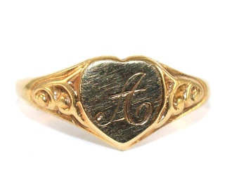 Heart Shaped Signet ring Engraved 'A'
