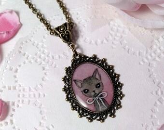 Necklace. Kitten. Original art.
