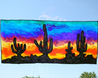 Painted Desert with cactus stained glass window Cling