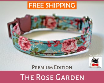 Breakaway cat collar 'The Rose Garden',kitten collar, cat collar, safety cat collar, vintage cat collar,mint cat collar, rose cat collar