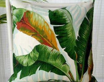 Tommy Bahama Palm Banana Leaf Pillow Cover - tropical, Caribbean, island, coastal, Hollywood Regency, Palm Beach