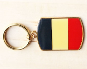 Flag France Keychain, French Enamel Keychain, French Flag Keychain, Enamel Flag Keychain, Retro French Keychain, Gold Keychain
