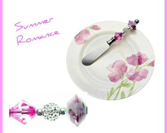 Summer Pink Painted Flowers Appetizer Plate & Knife