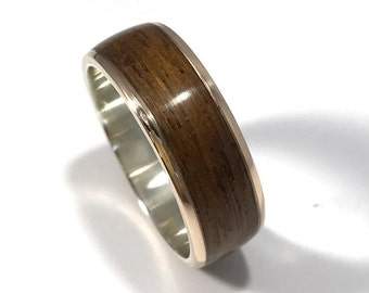brronze wedding ring mens wedding band wood ring wood wedding band wooden bronze and teak ring wood and metal ring gift for sailor teak and