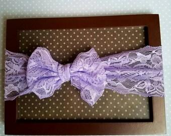 3 month - Toddler purple lace headband