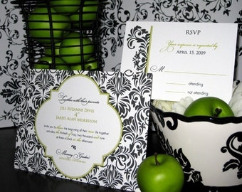 Black and Green Damask - Wedding Invitation Set