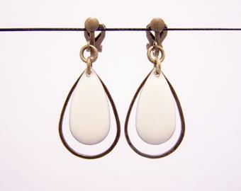 Sequin white enamel clip earrings
