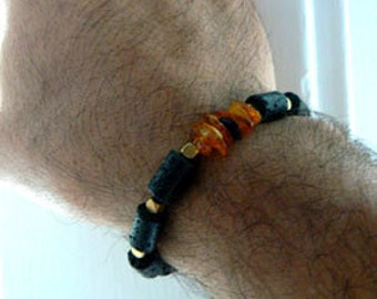Lava amber gemstone stretch bracelet. Baltic amber lava rustic bracelet -Unisex black amber bracelet. Boho organic bracelet. Accessory gift