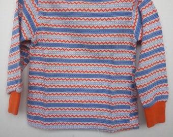 Vintage long sleeve shirt,  orange,  blue and white, size 24 months