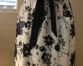Elegant Black and White Floral Half Apron