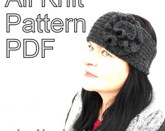 Knitting Pattern - Headband With Knitted Flower VERY EASY