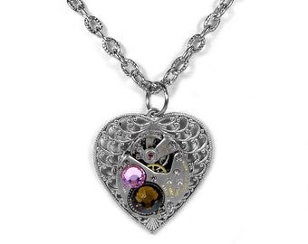 Steampunk Jewelry Necklace Vintage Watch Silver Filigree HEART Pink Topaz Crystals Steam Punk Heart Bridesmaids Gifts - Steampunk Boutique