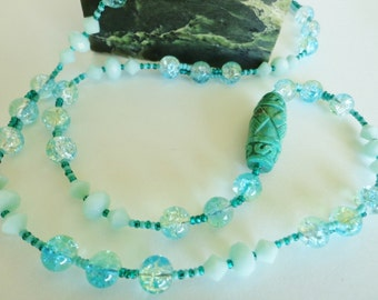 Carved Turquoise Gemstone Focal Bead Necklace, Turquoise Glass Beaded Necklace, Glass Beads Necklace, Gift for Her
