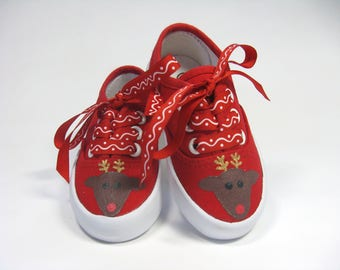 Reindeer Shoes, Red Christmas Sneakers Hand Painted for Baby or Toddlers, Holiday Shoes