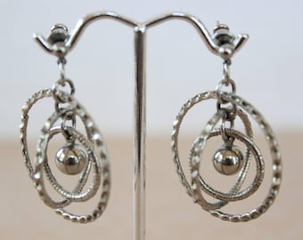 Vintage Modernist Textured Multi Hoop Dangle Earrings for Pierced Ears Silver Tone