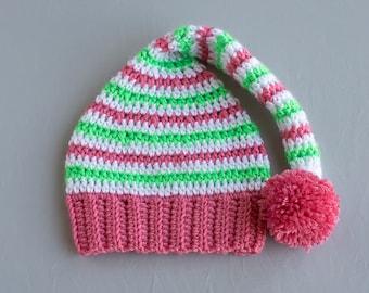 Elf Hat, Girl Elf Hat, Crochet Girl Hat, Baby Elf Hat, Christmas Hat, Elf Photo Prop, Photo Prop, Winter Hat, Baby Girl Hat, Winter Hat