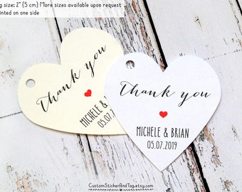 "36 thank you heart tags 2"" personalized with your names and wedding date, party favors, custom tag, welcome bag tag, personalized tag (T-53)"