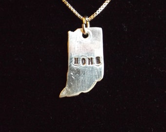 Indiana Home necklace, Indiana State necklace, State of Indiana necklace, Back home again in Indiana, Hoosier necklace, IN charm