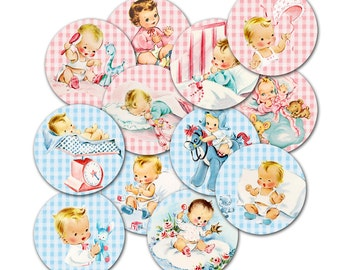 """Digital vintage baby circles collage sheet / 2"""" and 1"""" diameter round circles / downloadable / printable / altered art / collage sheet"""