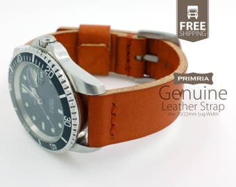 20mm 22mm Leather Watch Strap - Handmade (Natural Full Grain / Vegetable Tanned Leather)