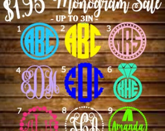 SALE - Monogram Decal - Monogram Sticker - Monogram Decals - Monogram Laptop Decal - Car Decal -Custom Cup Decal-Monogram Car Decal-Monogram