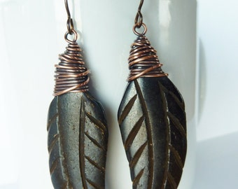 Wire Wrapped Copper and Black Carved Bone Leaf Earrings