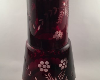 Tumble Up, Bohemian Tumble Up, Ruby Red Tumble Up, Czech Tumble Up, Czech Glass, Vintage Tumble Up, Vintage Bohemian Glass