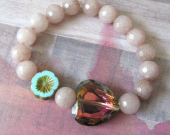 Faceted Heart Crystal Focal Bead Stretch Bracelet, Blush Pink Beads, Flower