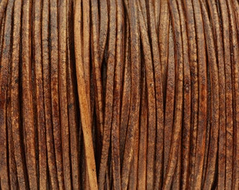1.8MM Round Leather Cord - 1M - Distressed Cognac - High Quality European Leather Cord