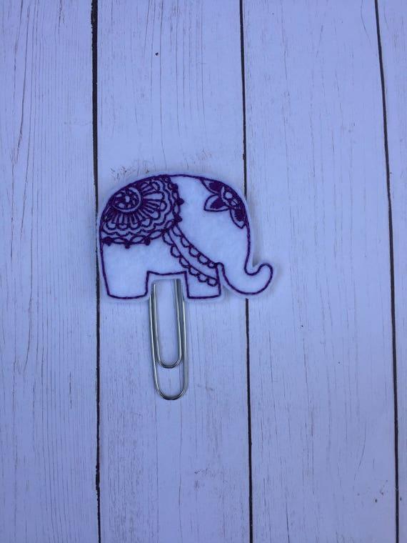 Mandala Elephant Planner Clip/Planner Clip/Bookmark. Elephant planner clip. Rose Gold Planner Clip