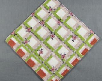 Checks in Moss Green & Tiny Pink Flowers Vintage Cotton Hankie Handkerchief