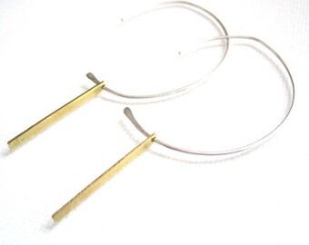 Silver and Gold Bar Half Hoop Earrings