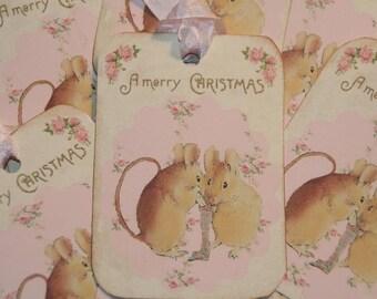 Christmas Mice Tags, Christmas Gift Tags, Merry Christmas Tags, Beatrix Potter, Holiday Tags