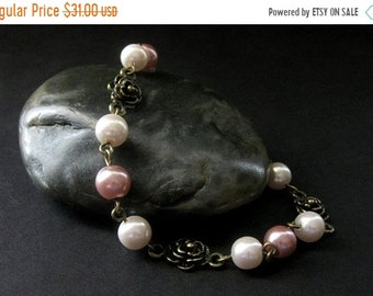 MOTHERS DAY SALE Pearl Bracelet. Rosebud Bracelet in Soft Pink Pearls and Bronze. Handmade Jewelry.