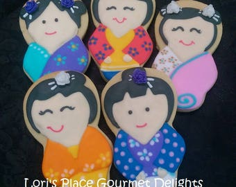 China Themed Cookies - Asian Doll Cookies - Asian Themed Cookies - Samurai Cookies -  10 Cookies