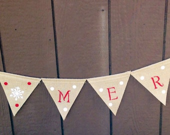 Be Merry Christmas Banner-Burlap Christmas Banner-Shabby Chic Christmas Banner-Free Shipping!
