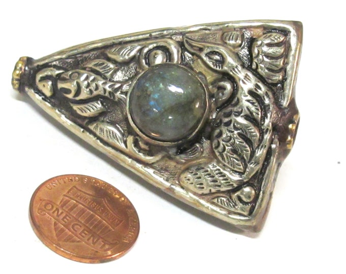 1 BEAD - Large size Tibetan Triangular shape reversible phoenix bird fish design focal bead with labradorite gemstone inlay -  BD759AH