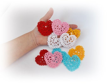 Crochet Applique, Crochet heart, Motif heart, craft supplies, Embellishment Crochet heart, scrapbooking, Heart Applique, wedding decorations