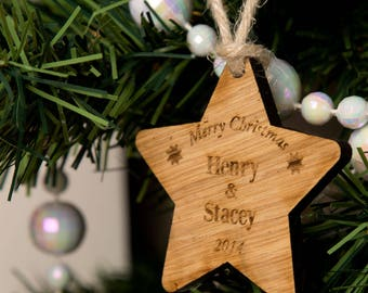 Personalised Couple Wooden Star - Wooden Christmas Star, Wooden Hanging Star, Christmas Star Decorations, Christmas Presents for Couples.
