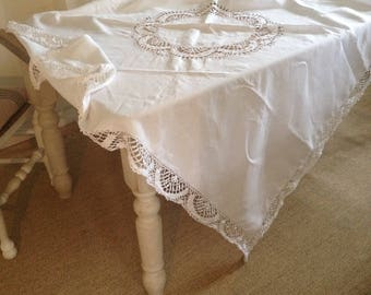 VINTAGE linen tablecloth.  FRESH clean white and sound. Hand sewn. Perfect wedding shower,  gift, collectable.