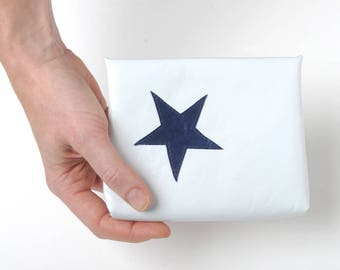 """White leather pouch with dark blue star, White and dark blue purse, White leather purse, MALAM, 6x5"""" - 15x12"""