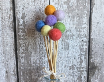 Felt ball flowers in pastel/light rainbow colours - posy, pom pom, billy ball, billy balls, craspedia, artificial flowers