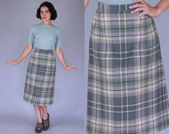 1950s Pendleton Skirt | small / medium | vintage 50s sage grey green and cream wool plaid high waisted pencil skirt