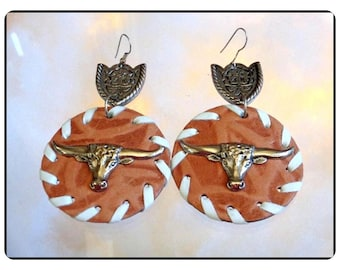 Leather Pierced Earrings - Yippie I Vintage Lg Decorated Cowgirl Style   E3586a-083114008
