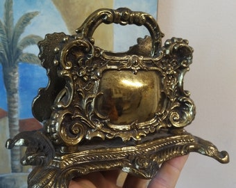Vintage BRASS PAPER HOLDER Napkin Holder
