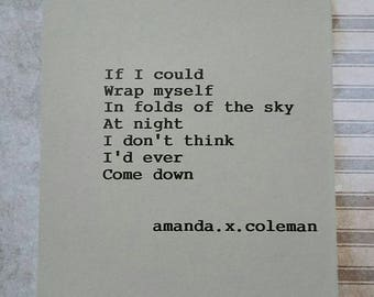 Signed Poetry Print| Amanda.x.Coleman| Come Down