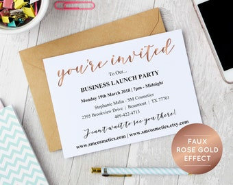 Invitation template etsy rose gold business invitation template instant download editable pdf business launch party invite stopboris Images