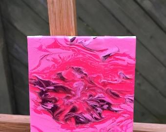 Punk pink-acrylic on mini canvas